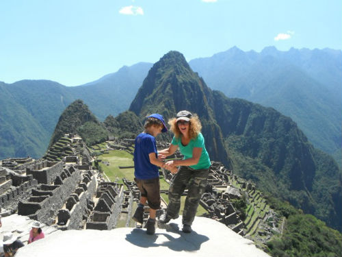 Exploramum and Explorason at Machu Picchu in Peru, travelling the world as a single mum