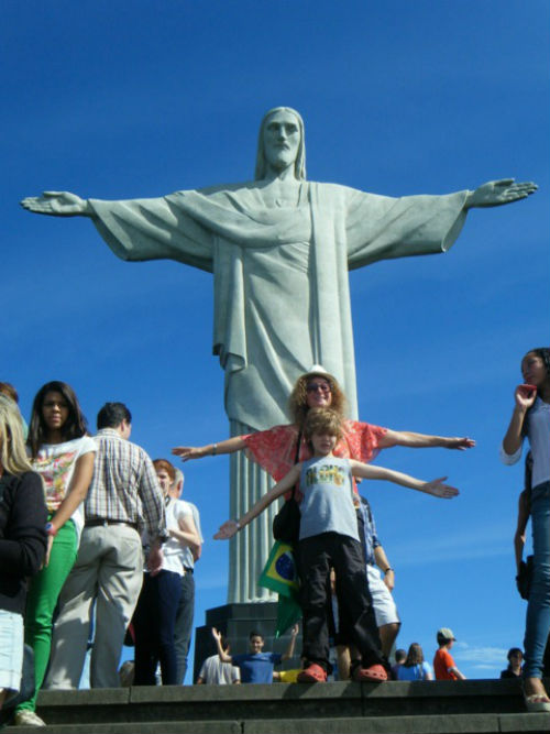 Exploramum and Explorason at the Christ the Redeemer statue in Rio, Brazil
