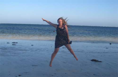 Katie Baxter jumping for joy