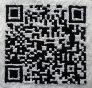 Knitted QR code for The Career Break Site