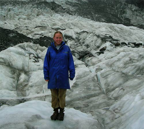 Rachel on a glacier in New Zealand. Check out the crampons!