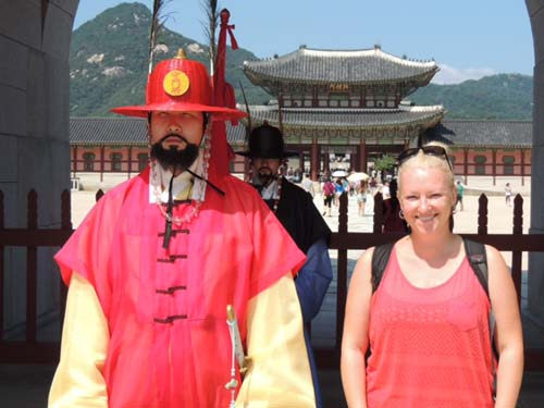Sally outside the Royal Palace, South Korea