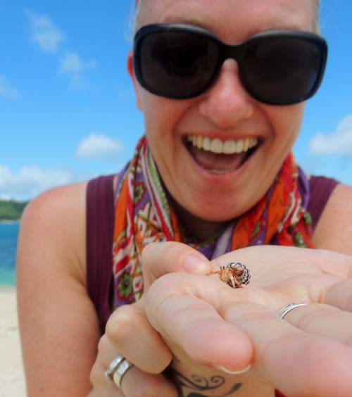 Sally with tiny creature and its house in Indonesia