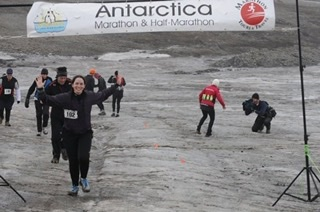 George running the Antarctica Marathon