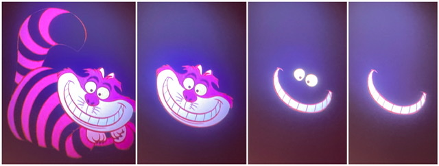Four images stitched together of the Cheshire Cat disappearing into his grin