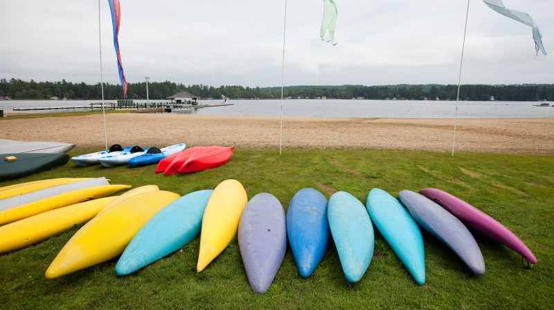 Kayaks on an American summer camp in the USA