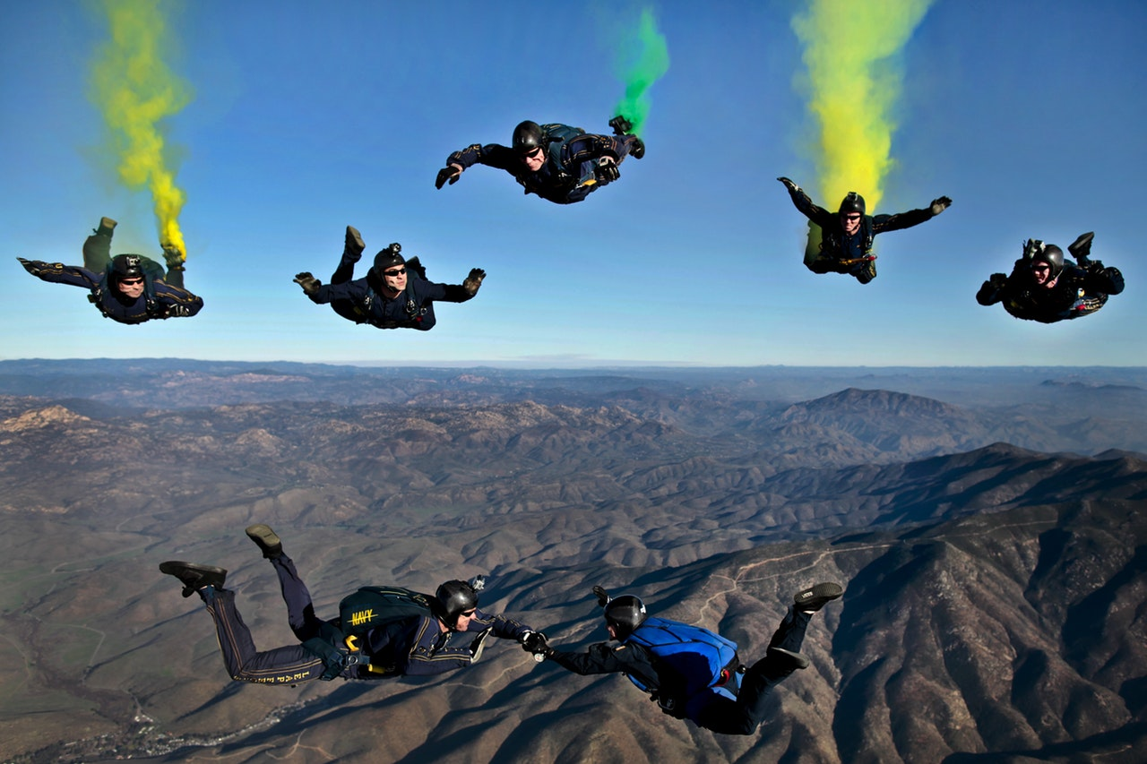 Skydivers in California - you could spend your money on an experience like this!