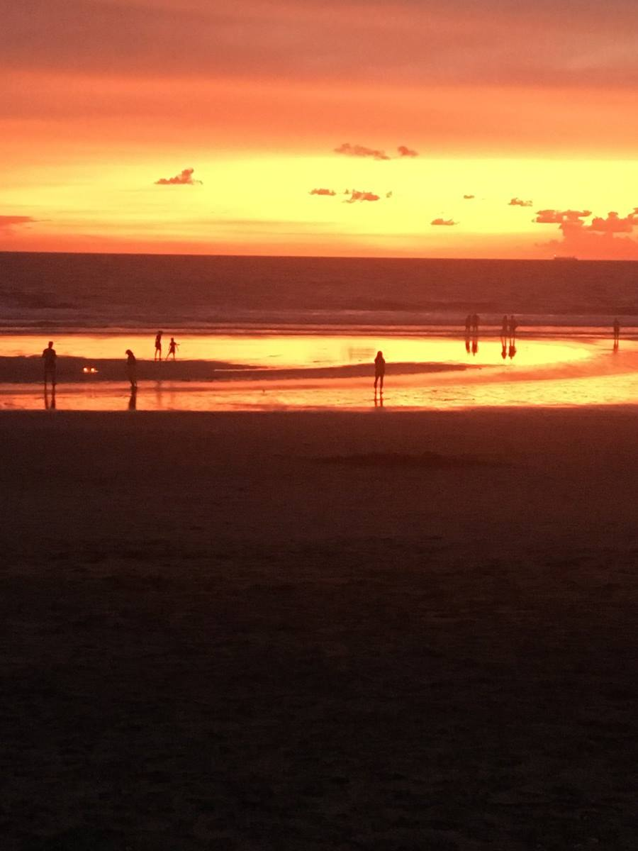 Legian beach in Bali at sunset