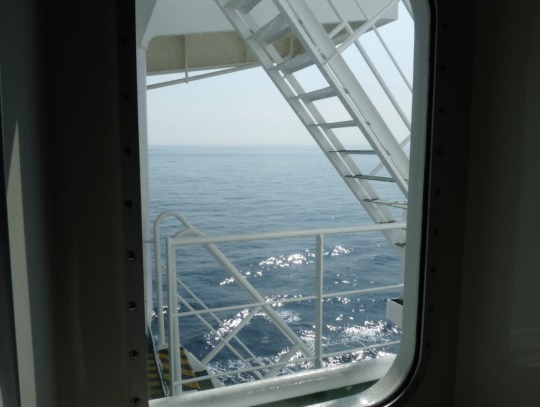 Looking through the windows on the ship