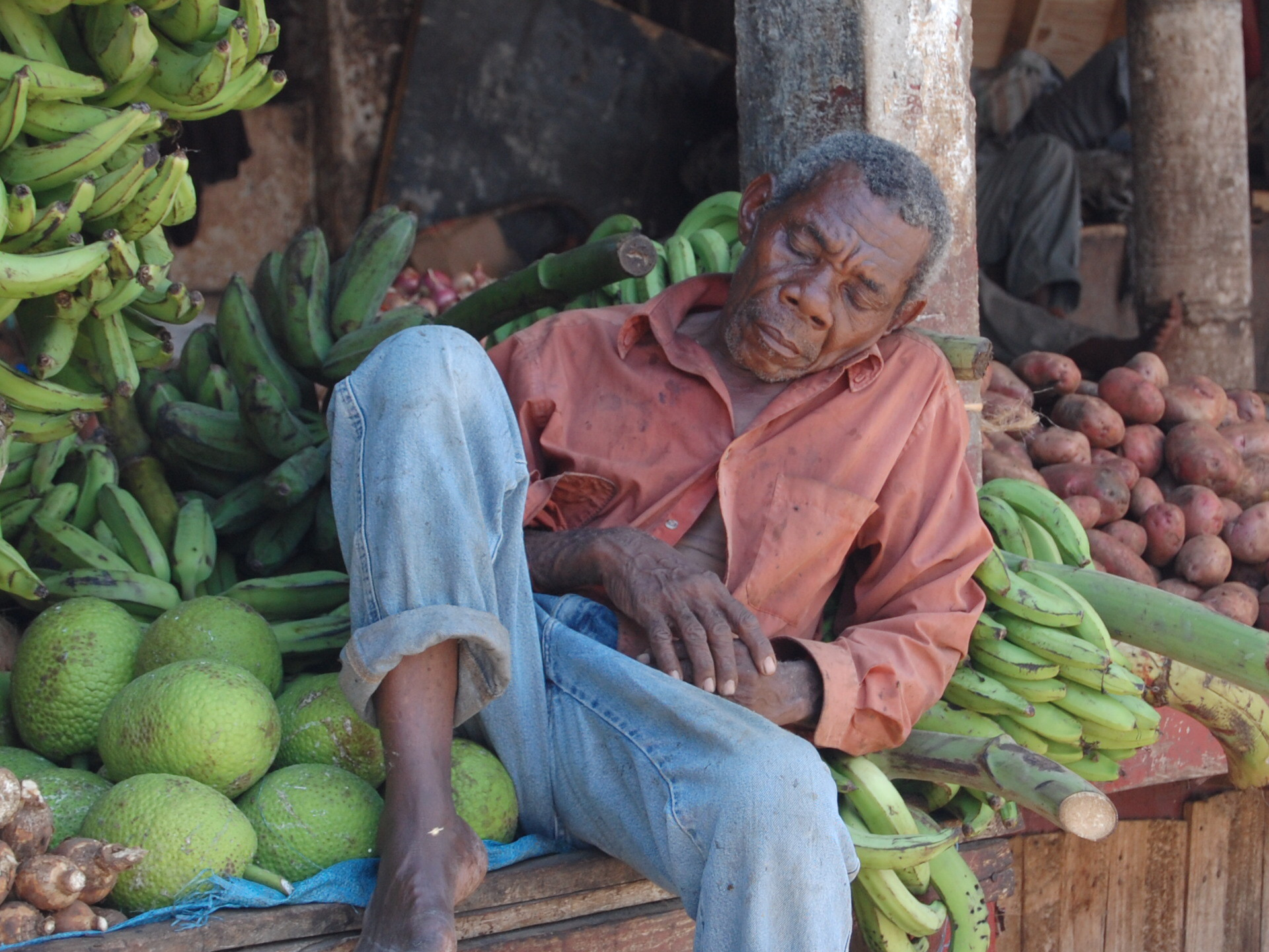 Old man in fruit market - Matthew Lightfoot