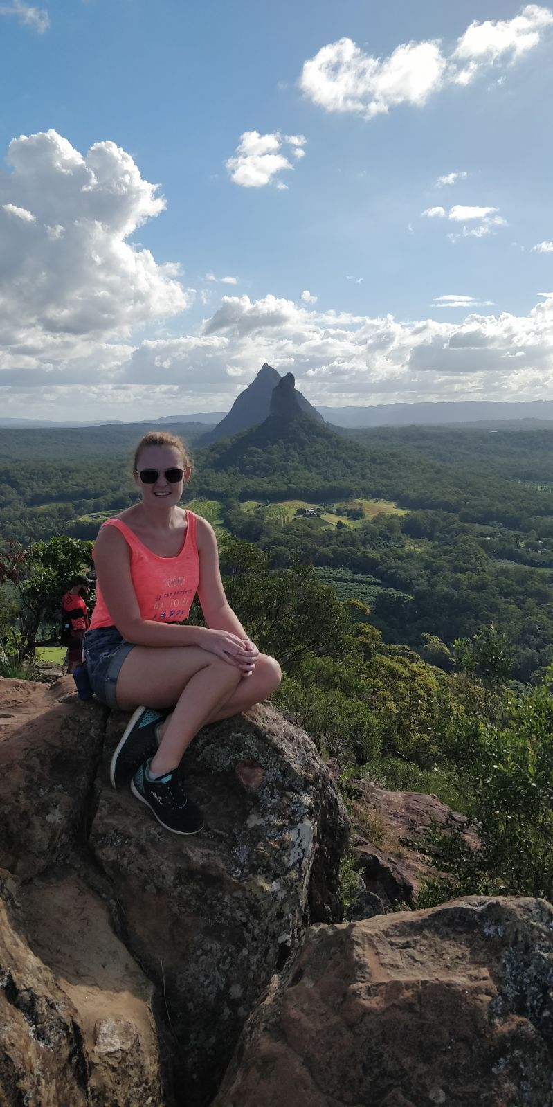 Rebecca Burke in the Glasshouse Mountains in Australia
