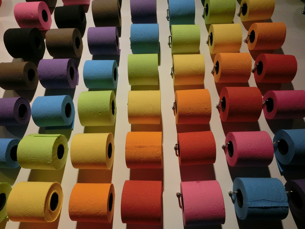 Toilet paper in rainbow shades - image from pixabay