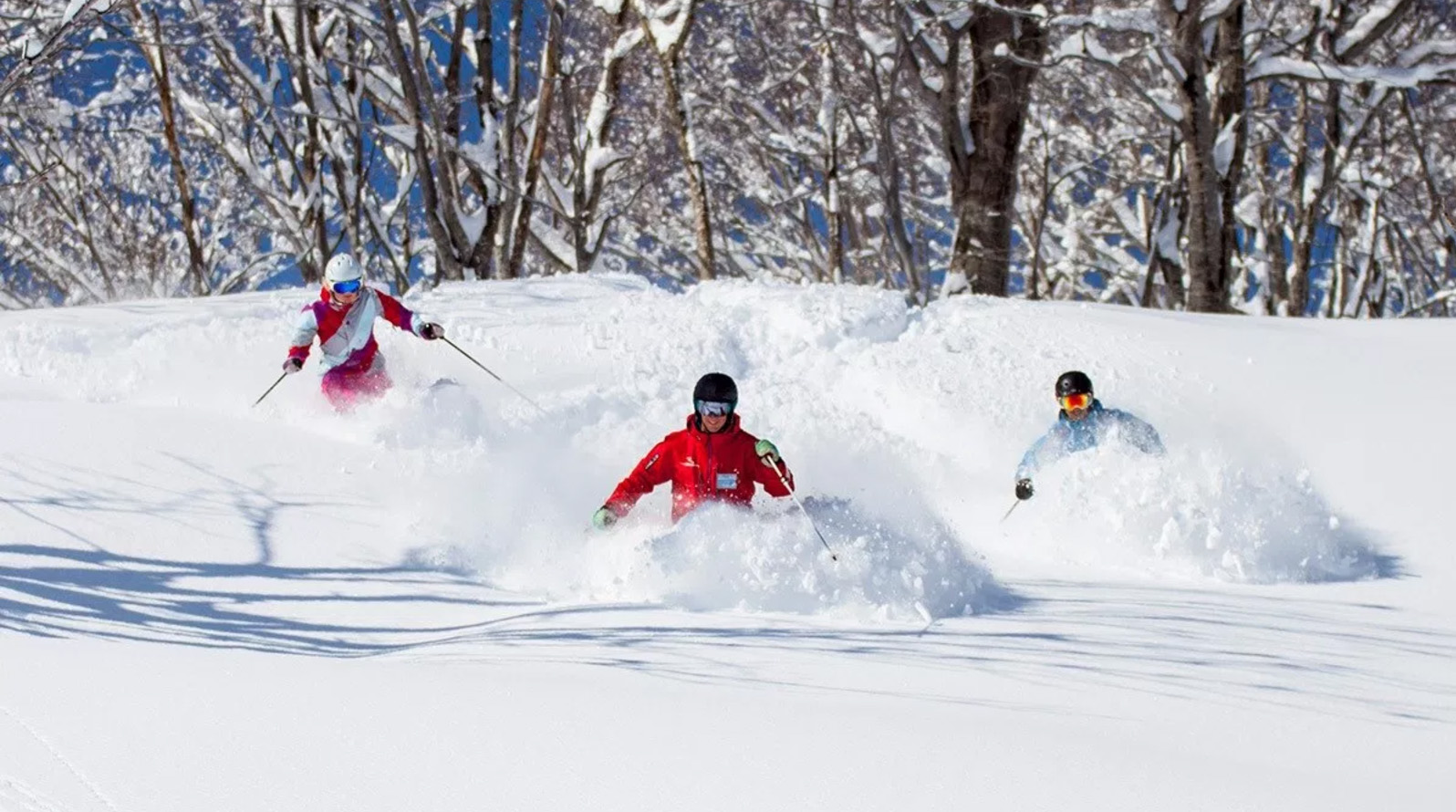 We Are Sno ski instructor course students in the powder!