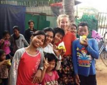 Children with snacks Teaching and Curriculum Development in Cambodia