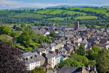 Aerial view of the town of Brecon